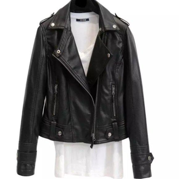 NWT Black Vegan Leather Short Moto Jacket
